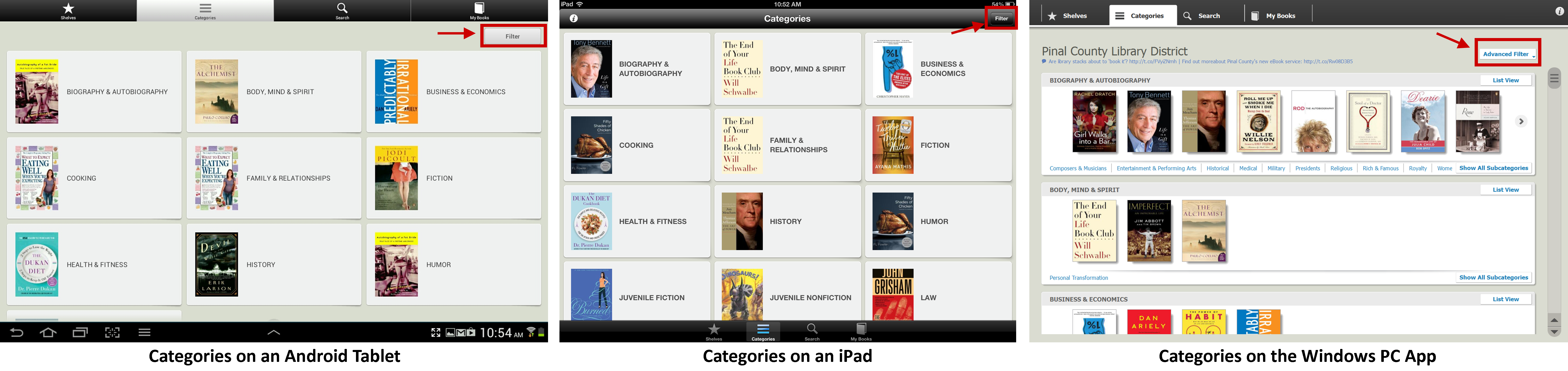 Categories on the 3M Cloud Library Apps